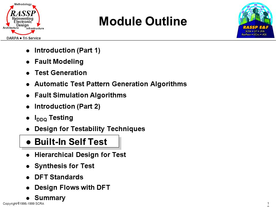 Copyright  1995-1999 SCRA 103103 Methodology Reinventing Electronic Design Architecture Infrastructure DARPA Tri-Service RASSP Module Outline l Introduction (Part 1) l Fault Modeling l Test Generation l Automatic Test Pattern Generation Algorithms l Fault Simulation Algorithms l Introduction (Part 2) l I DDQ Testing l Design for Testability Techniques l Built-In Self Test l Hierarchical Design for Test l Synthesis for Test l DFT Standards l Design Flows with DFT l Summary
