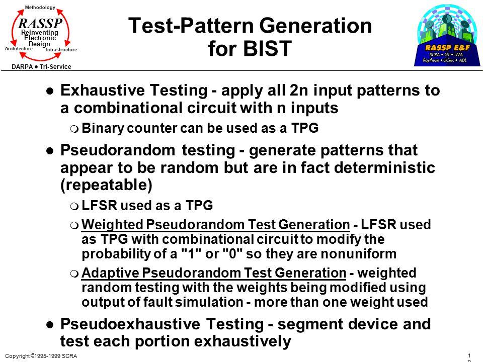 Copyright  1995-1999 SCRA 107107 Methodology Reinventing Electronic Design Architecture Infrastructure DARPA Tri-Service RASSP Test-Pattern Generatio