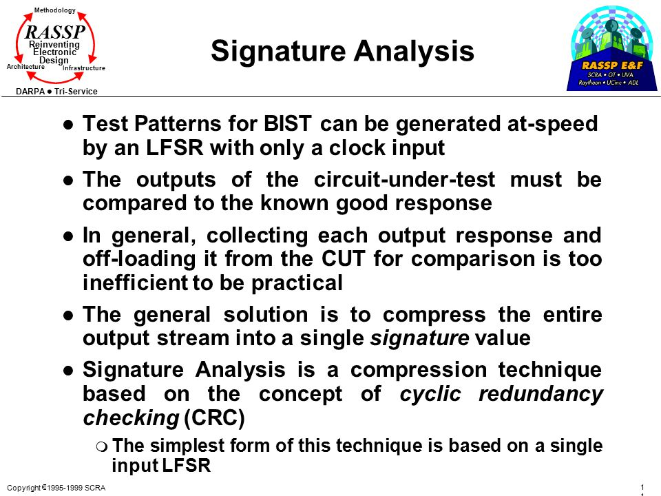 Copyright  1995-1999 SCRA 111111 Methodology Reinventing Electronic Design Architecture Infrastructure DARPA Tri-Service RASSP Signature Analysis l Test Patterns for BIST can be generated at-speed by an LFSR with only a clock input l The outputs of the circuit-under-test must be compared to the known good response l In general, collecting each output response and off-loading it from the CUT for comparison is too inefficient to be practical l The general solution is to compress the entire output stream into a single signature value l Signature Analysis is a compression technique based on the concept of cyclic redundancy checking (CRC) m The simplest form of this technique is based on a single input LFSR