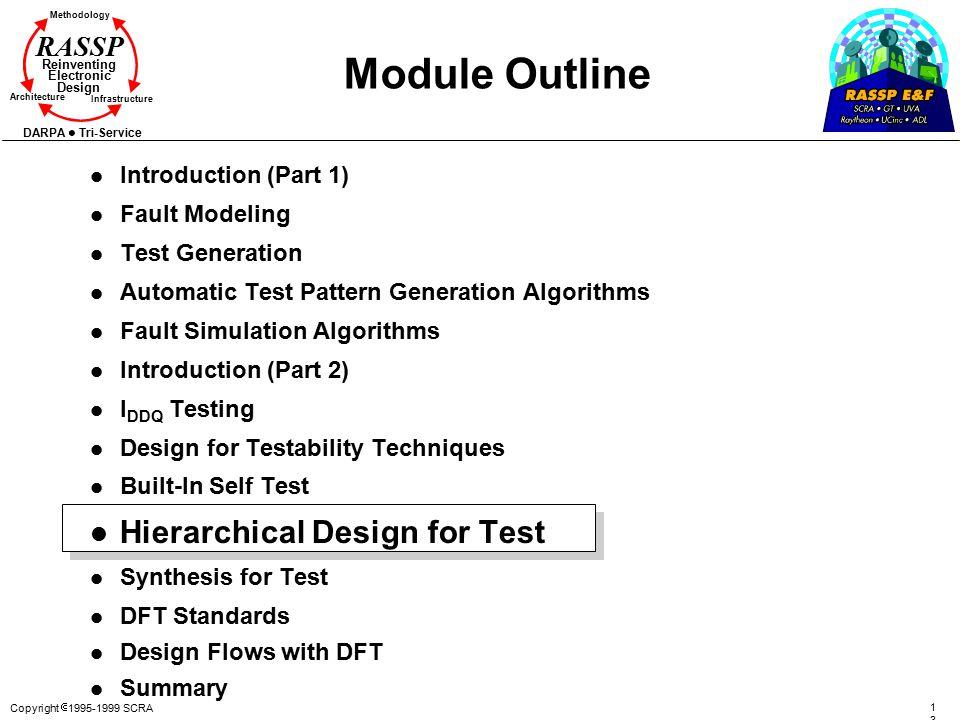 Copyright  1995-1999 SCRA 130130 Methodology Reinventing Electronic Design Architecture Infrastructure DARPA Tri-Service RASSP Module Outline l Intro