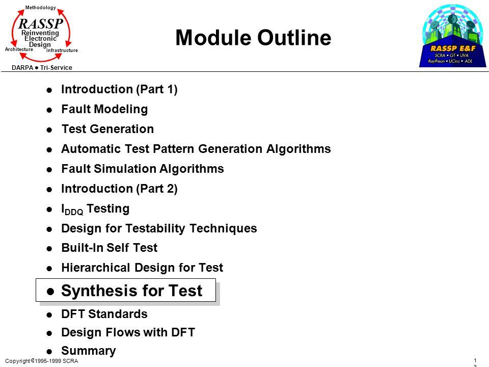 Copyright  1995-1999 SCRA 134134 Methodology Reinventing Electronic Design Architecture Infrastructure DARPA Tri-Service RASSP Module Outline l Intro
