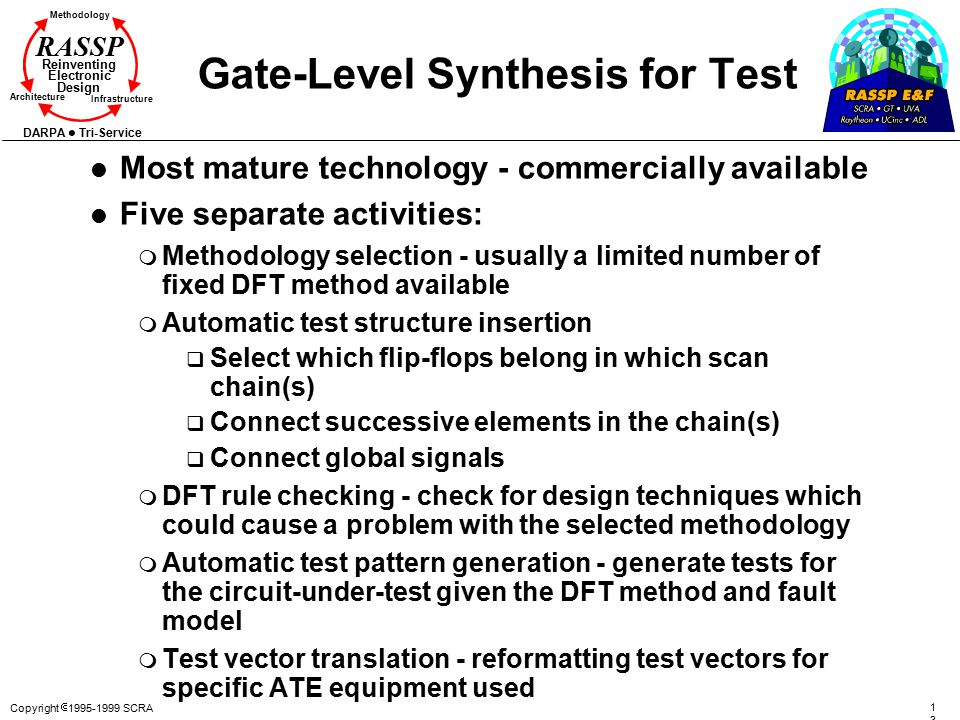 Copyright  1995-1999 SCRA 137137 Methodology Reinventing Electronic Design Architecture Infrastructure DARPA Tri-Service RASSP Gate-Level Synthesis for Test l Most mature technology - commercially available l Five separate activities: m Methodology selection - usually a limited number of fixed DFT method available m Automatic test structure insertion q Select which flip-flops belong in which scan chain(s) q Connect successive elements in the chain(s) q Connect global signals m DFT rule checking - check for design techniques which could cause a problem with the selected methodology m Automatic test pattern generation - generate tests for the circuit-under-test given the DFT method and fault model m Test vector translation - reformatting test vectors for specific ATE equipment used