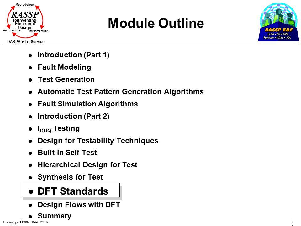 Copyright  1995-1999 SCRA 140140 Methodology Reinventing Electronic Design Architecture Infrastructure DARPA Tri-Service RASSP Module Outline l Intro