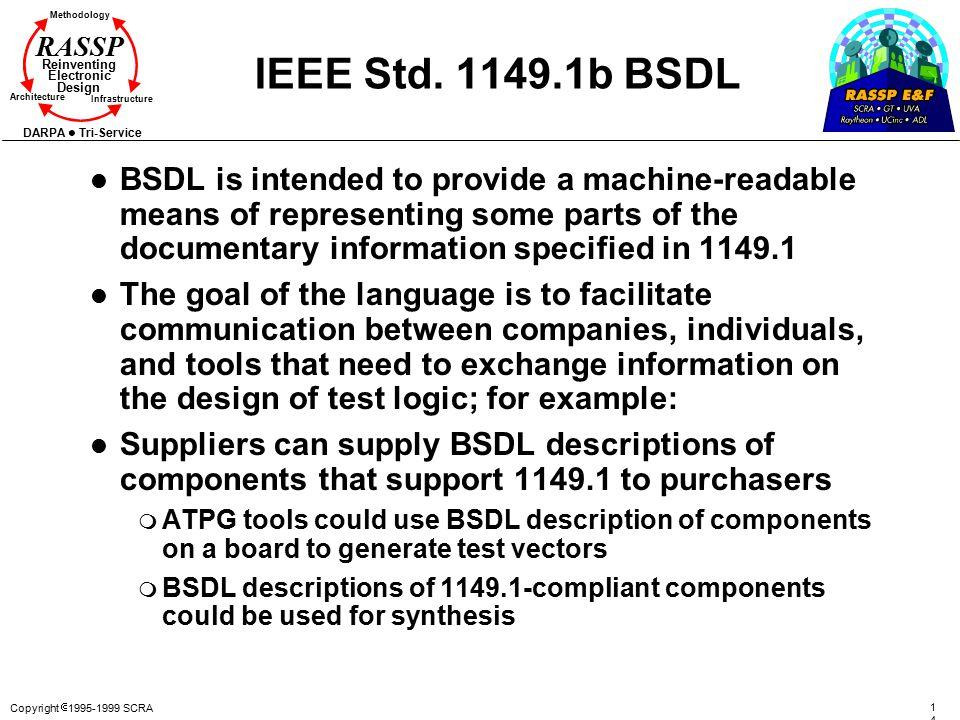 Copyright  1995-1999 SCRA 147147 Methodology Reinventing Electronic Design Architecture Infrastructure DARPA Tri-Service RASSP IEEE Std. 1149.1b BSDL