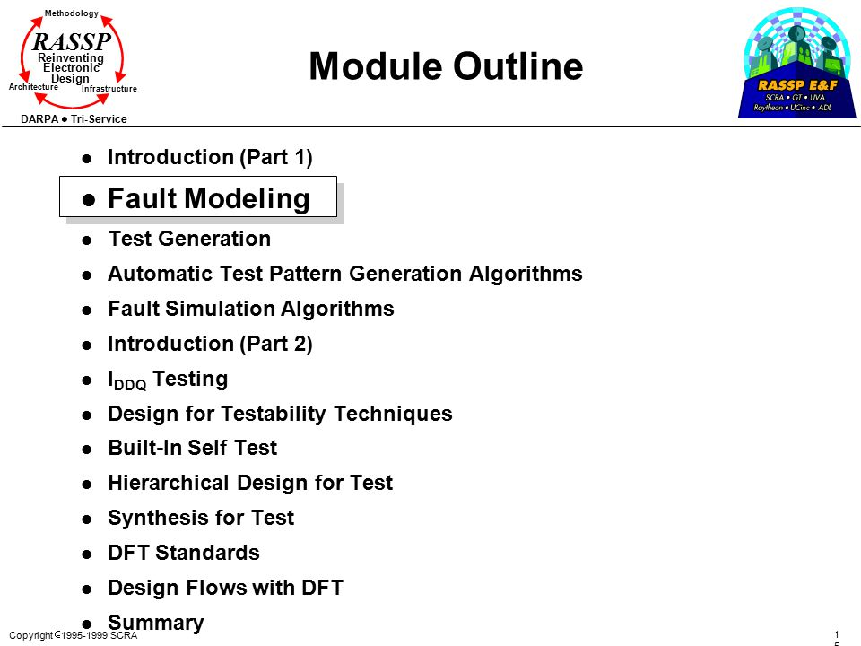 Copyright  1995-1999 SCRA 1515 Methodology Reinventing Electronic Design Architecture Infrastructure DARPA Tri-Service RASSP Module Outline l Introduction (Part 1) l Fault Modeling l Test Generation l Automatic Test Pattern Generation Algorithms l Fault Simulation Algorithms l Introduction (Part 2) l I DDQ Testing l Design for Testability Techniques l Built-In Self Test l Hierarchical Design for Test l Synthesis for Test l DFT Standards l Design Flows with DFT l Summary