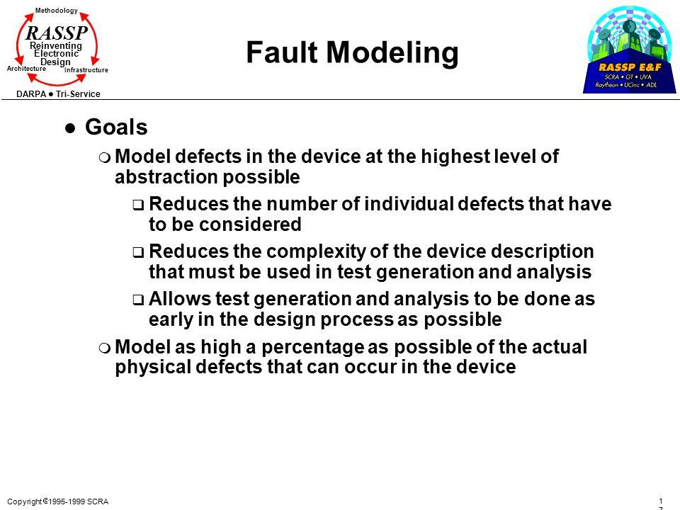 Copyright  1995-1999 SCRA 1717 Methodology Reinventing Electronic Design Architecture Infrastructure DARPA Tri-Service RASSP Fault Modeling l Goals m