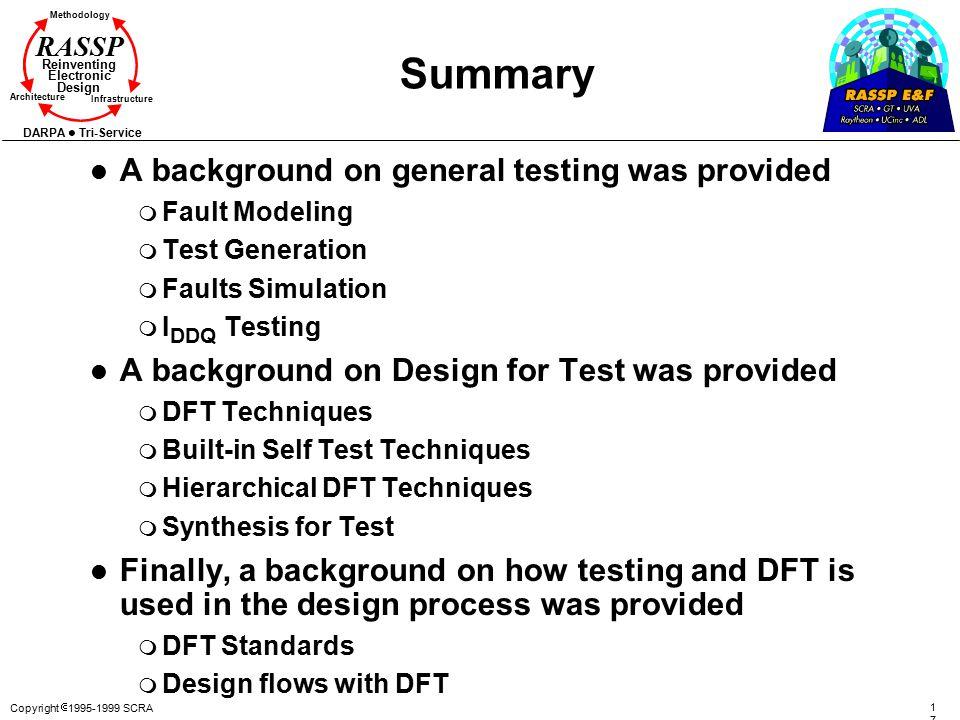 Copyright  1995-1999 SCRA 171171 Methodology Reinventing Electronic Design Architecture Infrastructure DARPA Tri-Service RASSP Summary l A background