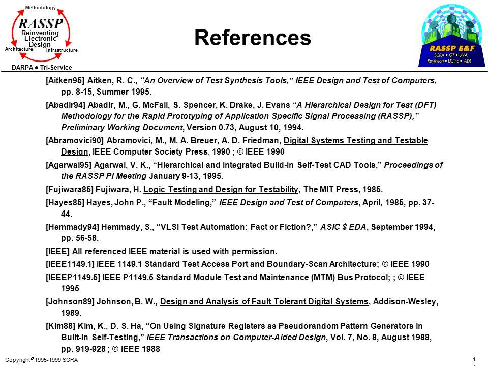 Copyright  1995-1999 SCRA 172172 Methodology Reinventing Electronic Design Architecture Infrastructure DARPA Tri-Service RASSP References [Aitken95]