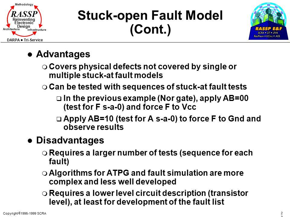 Copyright  1995-1999 SCRA 2323 Methodology Reinventing Electronic Design Architecture Infrastructure DARPA Tri-Service RASSP Stuck-open Fault Model (