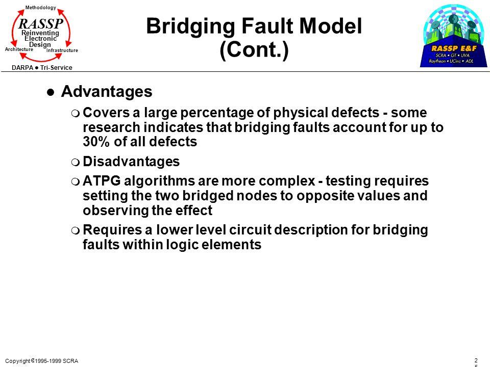 Copyright  1995-1999 SCRA 2525 Methodology Reinventing Electronic Design Architecture Infrastructure DARPA Tri-Service RASSP Bridging Fault Model (Co