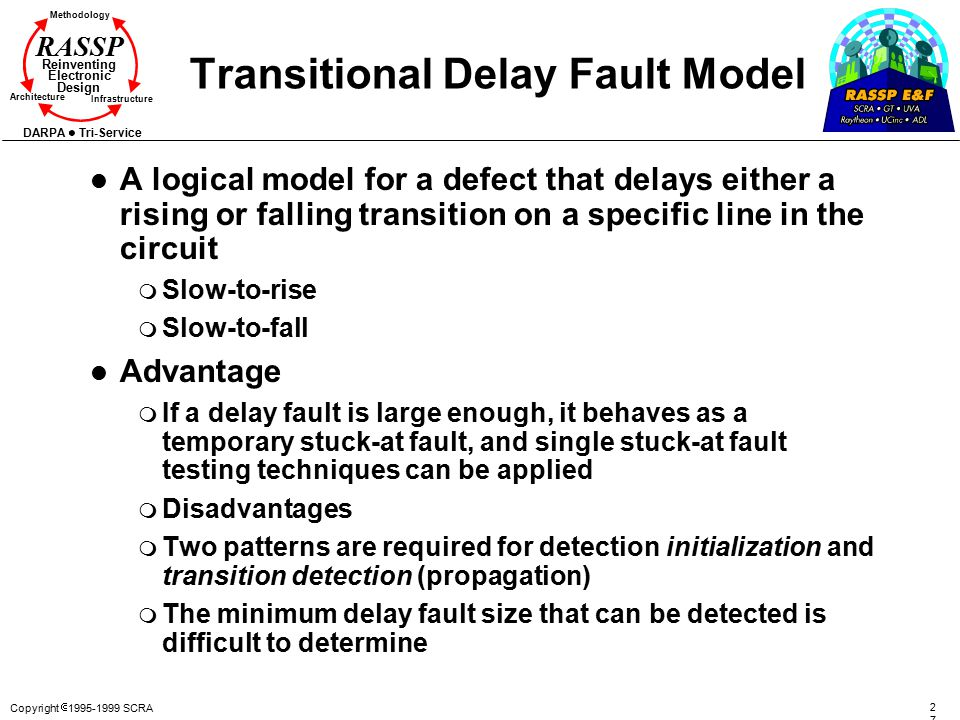 Copyright  1995-1999 SCRA 2727 Methodology Reinventing Electronic Design Architecture Infrastructure DARPA Tri-Service RASSP Transitional Delay Fault Model l A logical model for a defect that delays either a rising or falling transition on a specific line in the circuit m Slow-to-rise m Slow-to-fall l Advantage m If a delay fault is large enough, it behaves as a temporary stuck-at fault, and single stuck-at fault testing techniques can be applied m Disadvantages m Two patterns are required for detection initialization and transition detection (propagation) m The minimum delay fault size that can be detected is difficult to determine