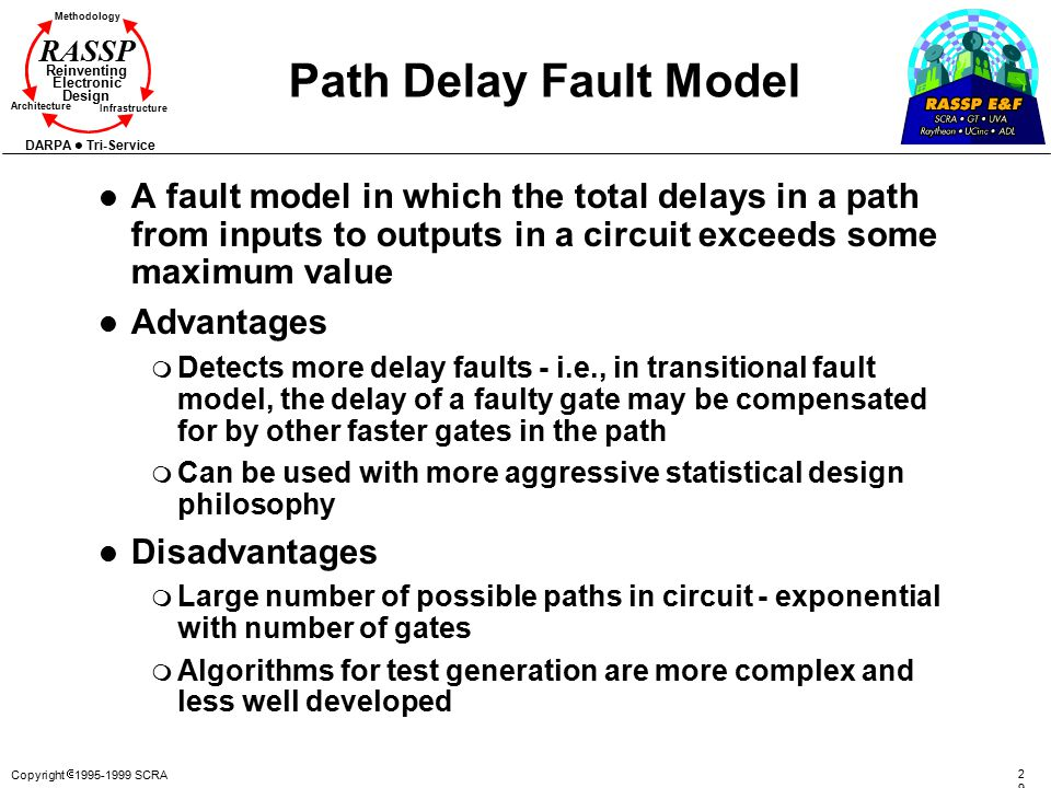 Copyright  1995-1999 SCRA 2929 Methodology Reinventing Electronic Design Architecture Infrastructure DARPA Tri-Service RASSP Path Delay Fault Model l A fault model in which the total delays in a path from inputs to outputs in a circuit exceeds some maximum value l Advantages m Detects more delay faults - i.e., in transitional fault model, the delay of a faulty gate may be compensated for by other faster gates in the path m Can be used with more aggressive statistical design philosophy l Disadvantages m Large number of possible paths in circuit - exponential with number of gates m Algorithms for test generation are more complex and less well developed