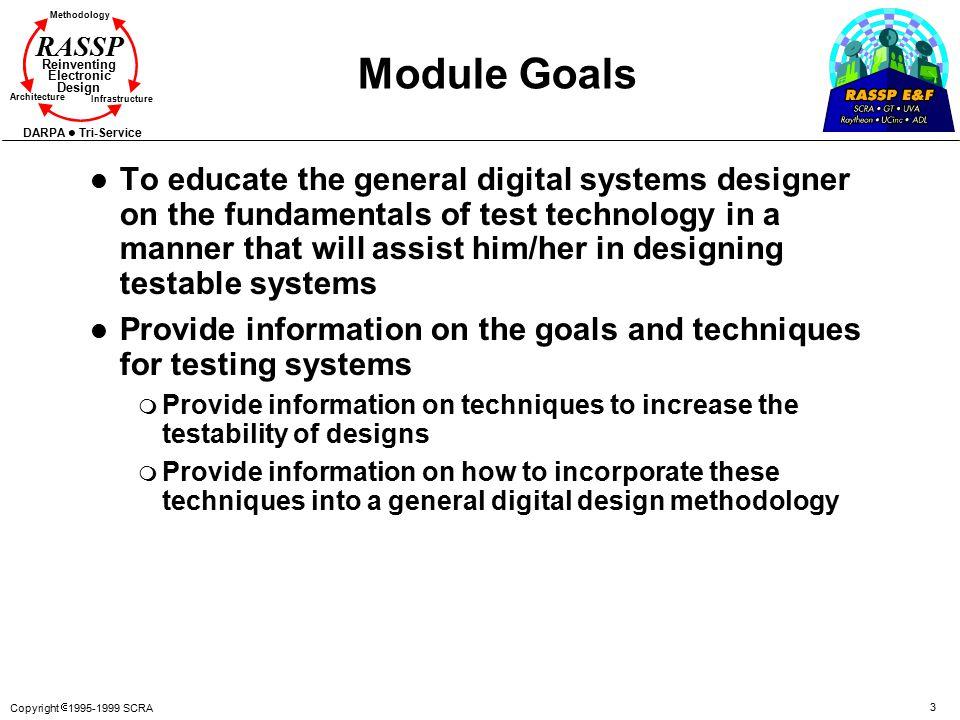 Copyright  1995-1999 SCRA 3 Methodology Reinventing Electronic Design Architecture Infrastructure DARPA Tri-Service RASSP Module Goals l To educate t