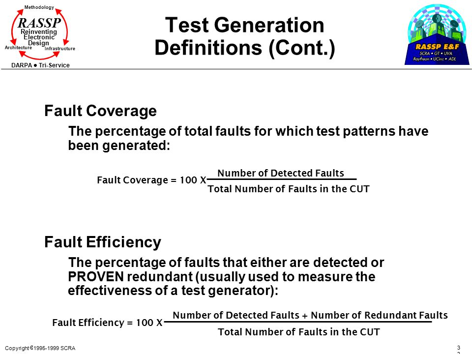 Copyright  1995-1999 SCRA 3232 Methodology Reinventing Electronic Design Architecture Infrastructure DARPA Tri-Service RASSP Test Generation Definitions (Cont.) Fault Coverage The percentage of total faults for which test patterns have been generated: Fault Efficiency The percentage of faults that either are detected or PROVEN redundant (usually used to measure the effectiveness of a test generator): Fault Efficiency = 100 X Number of Detected Faults + Number of Redundant Faults Total Number of Faults in the CUT Fault Coverage = 100 X Number of Detected Faults Total Number of Faults in the CUT