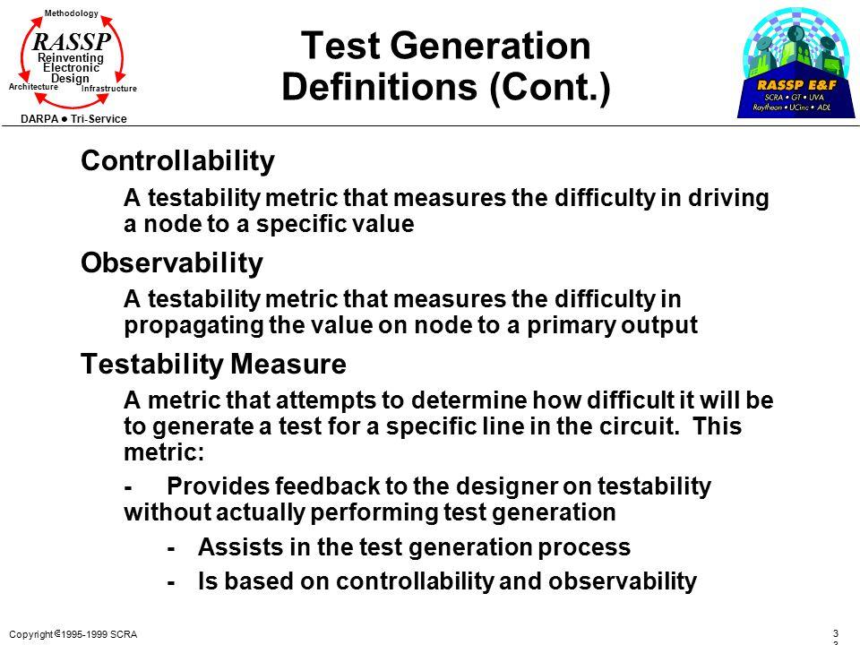 Copyright  1995-1999 SCRA3 Methodology Reinventing Electronic Design Architecture Infrastructure DARPA Tri-Service RASSP Test Generation Definitions