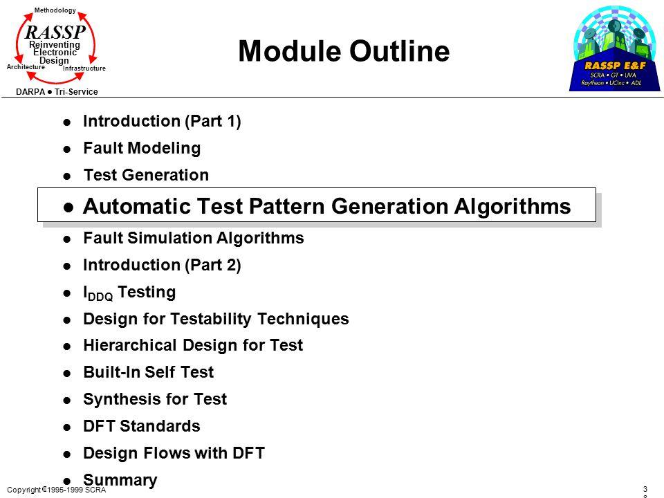 Copyright  1995-1999 SCRA 3838 Methodology Reinventing Electronic Design Architecture Infrastructure DARPA Tri-Service RASSP Module Outline l Introdu