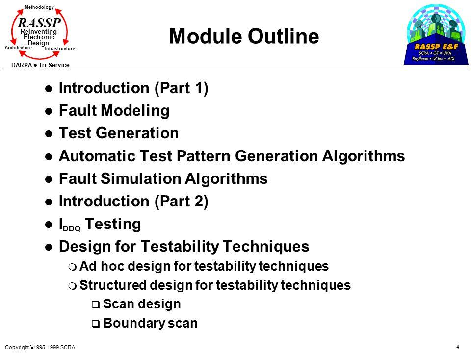 Copyright  1995-1999 SCRA 4 Methodology Reinventing Electronic Design Architecture Infrastructure DARPA Tri-Service RASSP Module Outline l Introducti