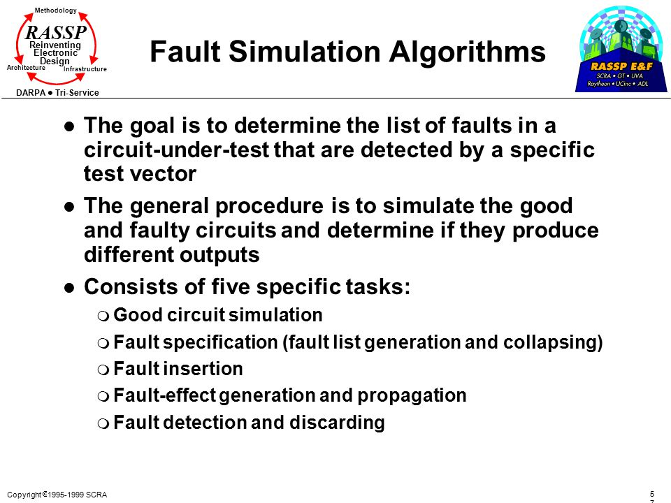 Copyright  1995-1999 SCRA 5757 Methodology Reinventing Electronic Design Architecture Infrastructure DARPA Tri-Service RASSP Fault Simulation Algorithms l The goal is to determine the list of faults in a circuit-under-test that are detected by a specific test vector l The general procedure is to simulate the good and faulty circuits and determine if they produce different outputs l Consists of five specific tasks: m Good circuit simulation m Fault specification (fault list generation and collapsing) m Fault insertion m Fault-effect generation and propagation m Fault detection and discarding