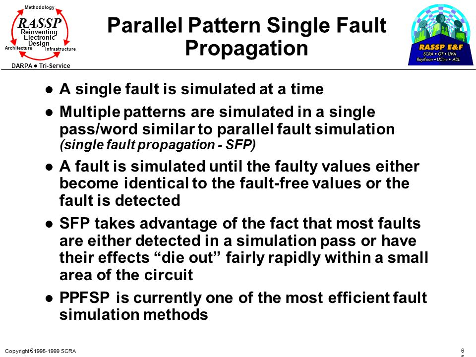 Copyright  1995-1999 SCRA6 Methodology Reinventing Electronic Design Architecture Infrastructure DARPA Tri-Service RASSP Parallel Pattern Single Fault Propagation l A single fault is simulated at a time l Multiple patterns are simulated in a single pass/word similar to parallel fault simulation (single fault propagation - SFP) l A fault is simulated until the faulty values either become identical to the fault-free values or the fault is detected l SFP takes advantage of the fact that most faults are either detected in a simulation pass or have their effects die out fairly rapidly within a small area of the circuit l PPFSP is currently one of the most efficient fault simulation methods