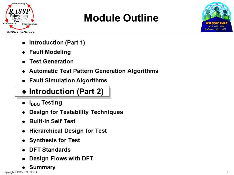 Copyright  1995-1999 SCRA 6969 Methodology Reinventing Electronic Design Architecture Infrastructure DARPA Tri-Service RASSP Module Outline l Introdu
