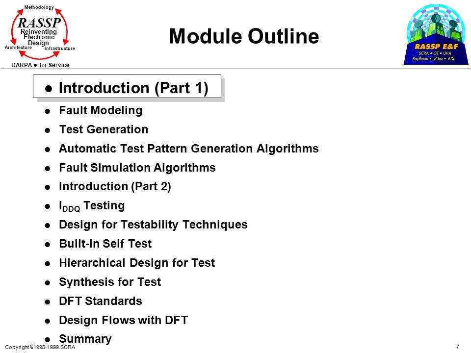 Copyright  1995-1999 SCRA 7 Methodology Reinventing Electronic Design Architecture Infrastructure DARPA Tri-Service RASSP Module Outline l Introducti