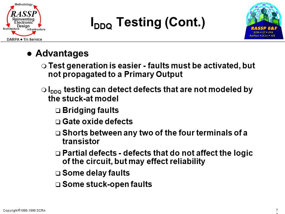 Copyright  1995-1999 SCRA 7474 Methodology Reinventing Electronic Design Architecture Infrastructure DARPA Tri-Service RASSP I DDQ Testing (Cont.) l