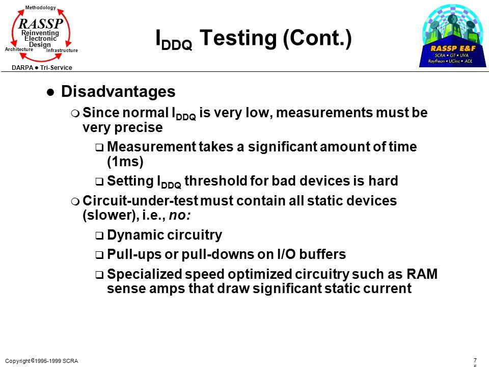 Copyright  1995-1999 SCRA 7575 Methodology Reinventing Electronic Design Architecture Infrastructure DARPA Tri-Service RASSP I DDQ Testing (Cont.) l