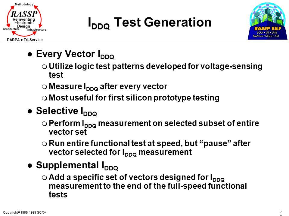 Copyright  1995-1999 SCRA 7878 Methodology Reinventing Electronic Design Architecture Infrastructure DARPA Tri-Service RASSP I DDQ Test Generation l