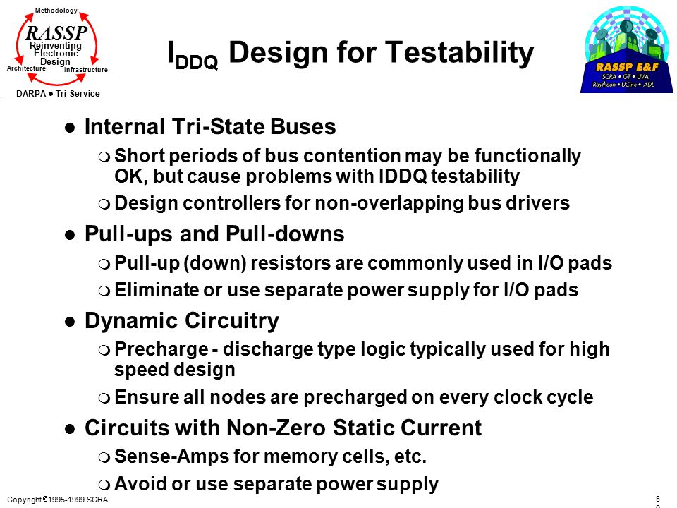 Copyright  1995-1999 SCRA 8080 Methodology Reinventing Electronic Design Architecture Infrastructure DARPA Tri-Service RASSP I DDQ Design for Testability l Internal Tri-State Buses m Short periods of bus contention may be functionally OK, but cause problems with IDDQ testability m Design controllers for non-overlapping bus drivers l Pull-ups and Pull-downs m Pull-up (down) resistors are commonly used in I/O pads m Eliminate or use separate power supply for I/O pads l Dynamic Circuitry m Precharge - discharge type logic typically used for high speed design m Ensure all nodes are precharged on every clock cycle l Circuits with Non-Zero Static Current m Sense-Amps for memory cells, etc.