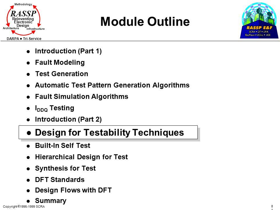 Copyright  1995-1999 SCRA 8181 Methodology Reinventing Electronic Design Architecture Infrastructure DARPA Tri-Service RASSP Module Outline l Introdu