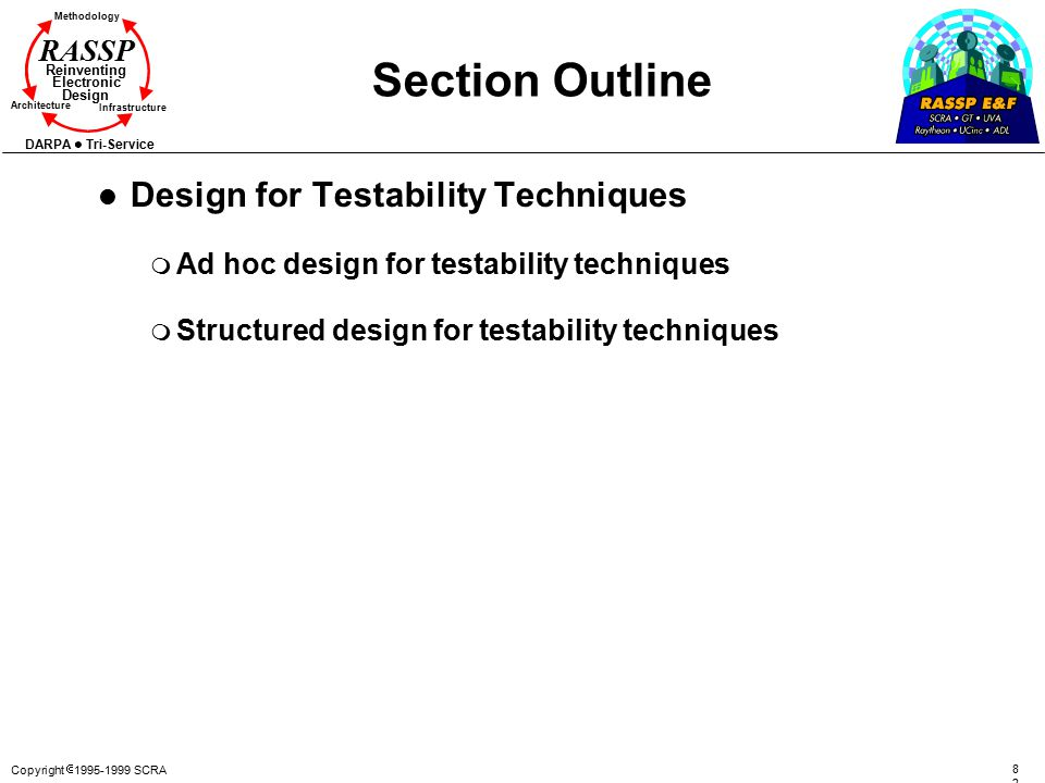 Copyright  1995-1999 SCRA 8282 Methodology Reinventing Electronic Design Architecture Infrastructure DARPA Tri-Service RASSP Section Outline l Design for Testability Techniques m Ad hoc design for testability techniques m Structured design for testability techniques
