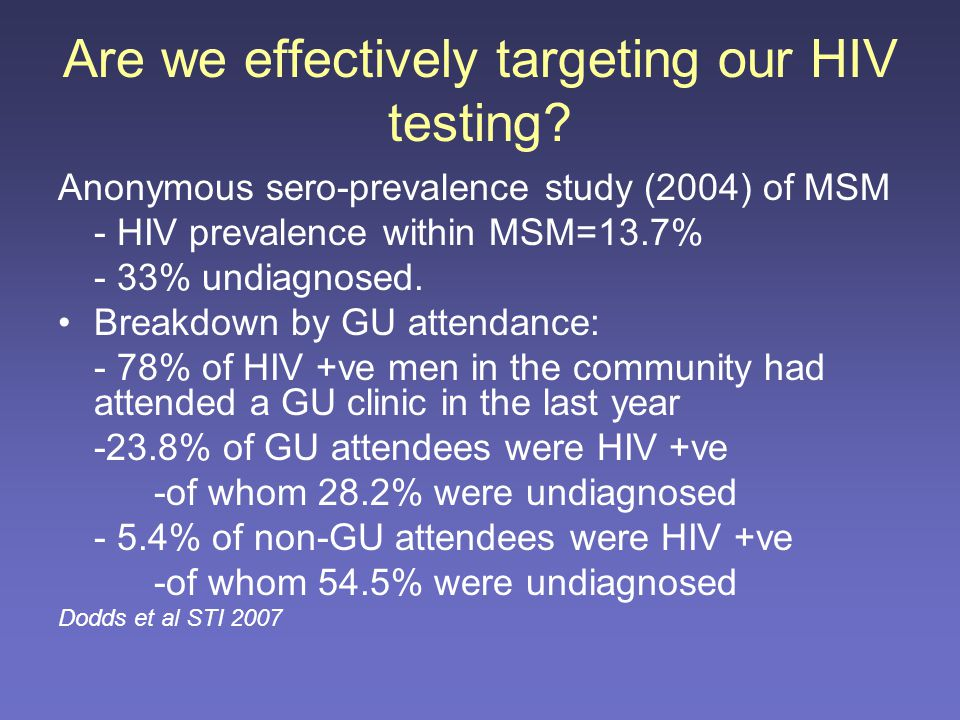 2005 audit of CNC HIV testing HIV test was offered to 76% of patients and was performed in 48% Men having sex with men accounted for 14% of the total visitors to CNC The rate of testing in MSM and low risk group were 53% and 15% respectively.