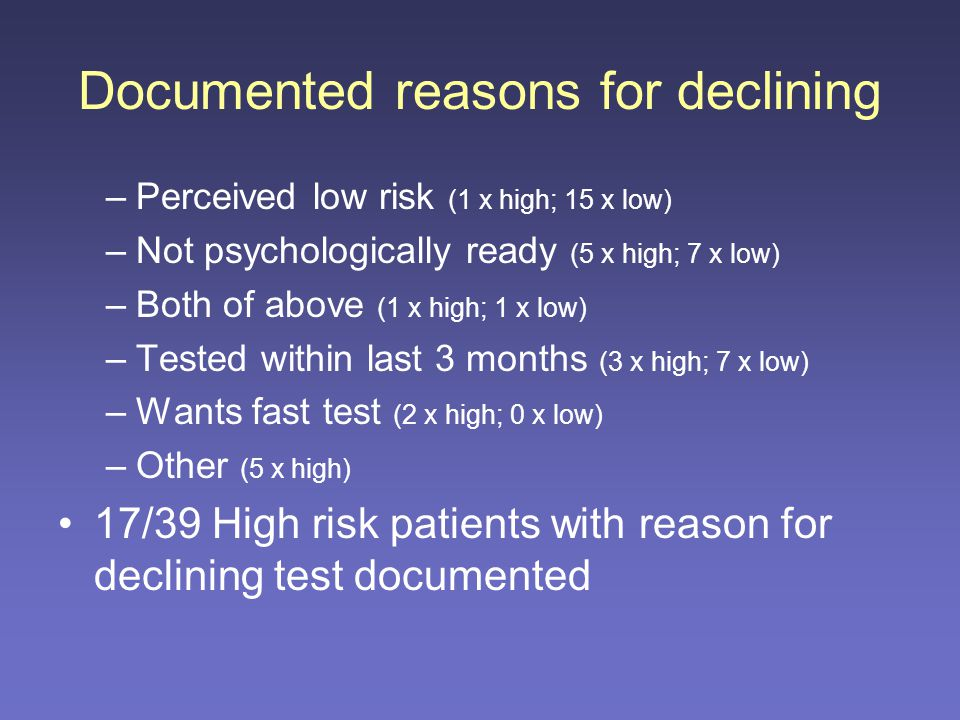 Reasons for declining HIV test (where documented n=47)