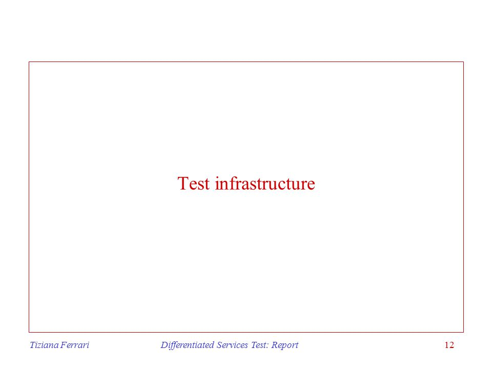Tiziana Ferrari Differentiated Services Test: Report12 Test infrastructure