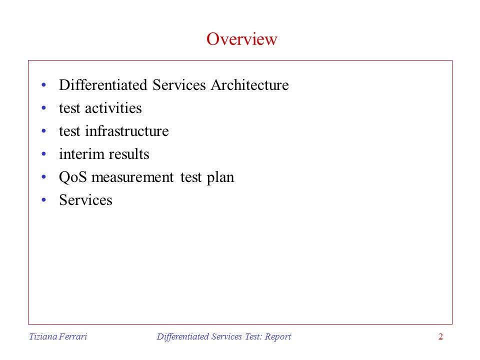 Tiziana Ferrari Differentiated Services Test: Report3 Differentiated Services Architecture