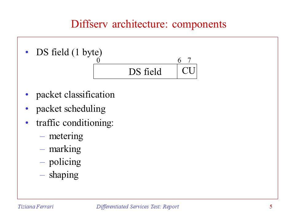 Tiziana Ferrari Differentiated Services Test: Report5 Diffserv architecture: components DS field (1 byte) packet classification packet scheduling traffic conditioning: –metering –marking –policing –shaping DS field CU 067