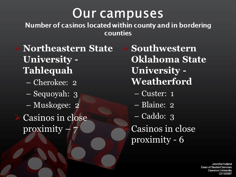 Jennifer Holland Dean of Student Services Cameron University 12/13/2007 Our campuses Number of casinos located within county and in bordering counties  Northeastern State University - Tahlequah –Cherokee: 2 –Sequoyah: 3 –Muskogee: 2  Casinos in close proximity – 7  Southwestern Oklahoma State University - Weatherford –Custer: 1 –Blaine: 2 –Caddo: 3  Casinos in close proximity - 6