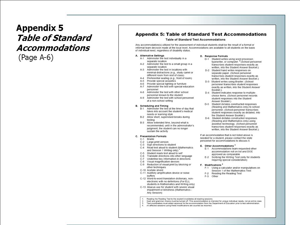 Appendix 5 Table of Standard Accommodations (Page A-6)