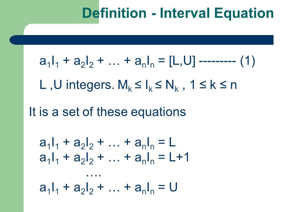 Definition - Interval Equation a 1 I 1 + a 2 I 2 + … + a n I n = [L,U] --------- (1) L,U integers.