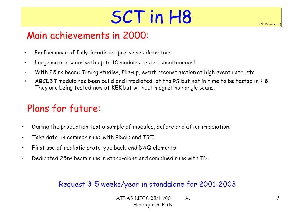 ATLAS LHCC 28/11/00 A. Henriques/CERN 5 Main achievements in 2000: Performance of fully-irradiated pre-series detectors Large matrix scans with up to