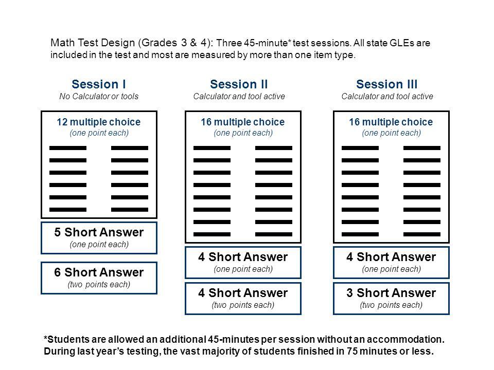 Session I No Calculator or tools Math Test Design (Grades 3 & 4): Three 45-minute* test sessions.