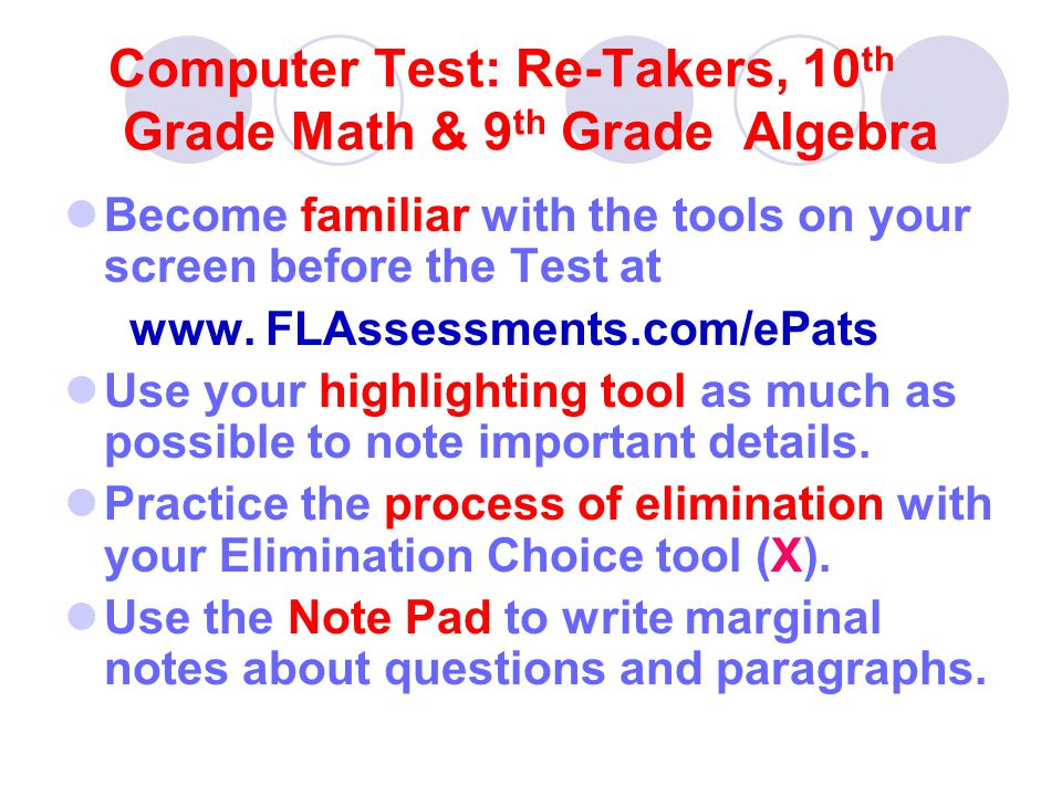 Computer Test Pay attention to all Text Features - maps, graphs, tables, pictures, italics Use the icons to locate the Math Reference Sheet and Calculator.