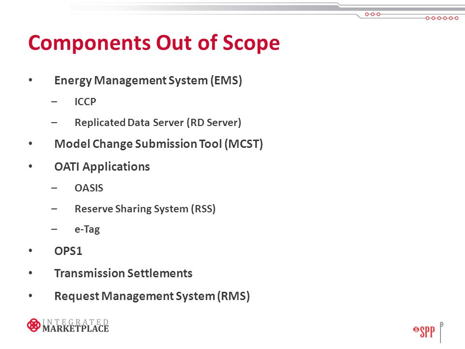 Components Out of Scope Energy Management System (EMS) –ICCP –Replicated Data Server (RD Server) Model Change Submission Tool (MCST) OATI Applications –OASIS –Reserve Sharing System (RSS) –e-Tag OPS1 Transmission Settlements Request Management System (RMS) 9