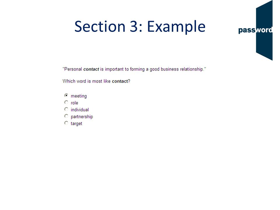 Section 4 11 questions Choose the words that are often used with the word in bold.