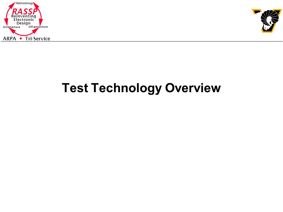 RASSP Reinventing Electronic Design Methodology Architecture Infrastructure ARPA Tri-Service Test Technology Overview