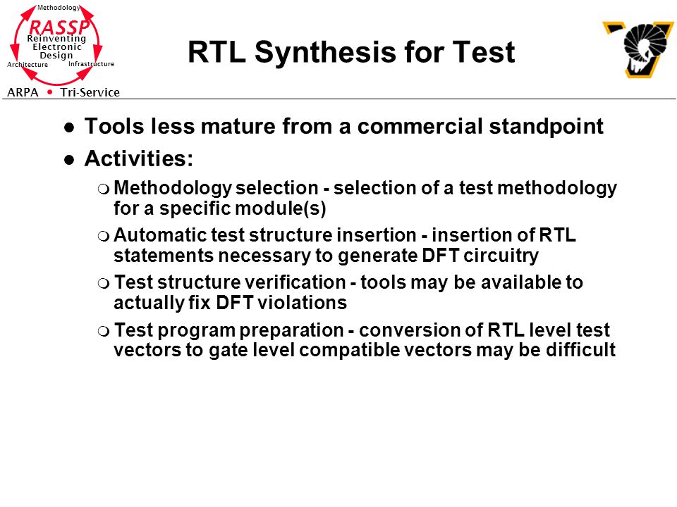 RASSP Reinventing Electronic Design Methodology Architecture Infrastructure ARPA Tri-Service RTL Synthesis for Test l Tools less mature from a commercial standpoint l Activities: m Methodology selection - selection of a test methodology for a specific module(s) m Automatic test structure insertion - insertion of RTL statements necessary to generate DFT circuitry m Test structure verification - tools may be available to actually fix DFT violations m Test program preparation - conversion of RTL level test vectors to gate level compatible vectors may be difficult