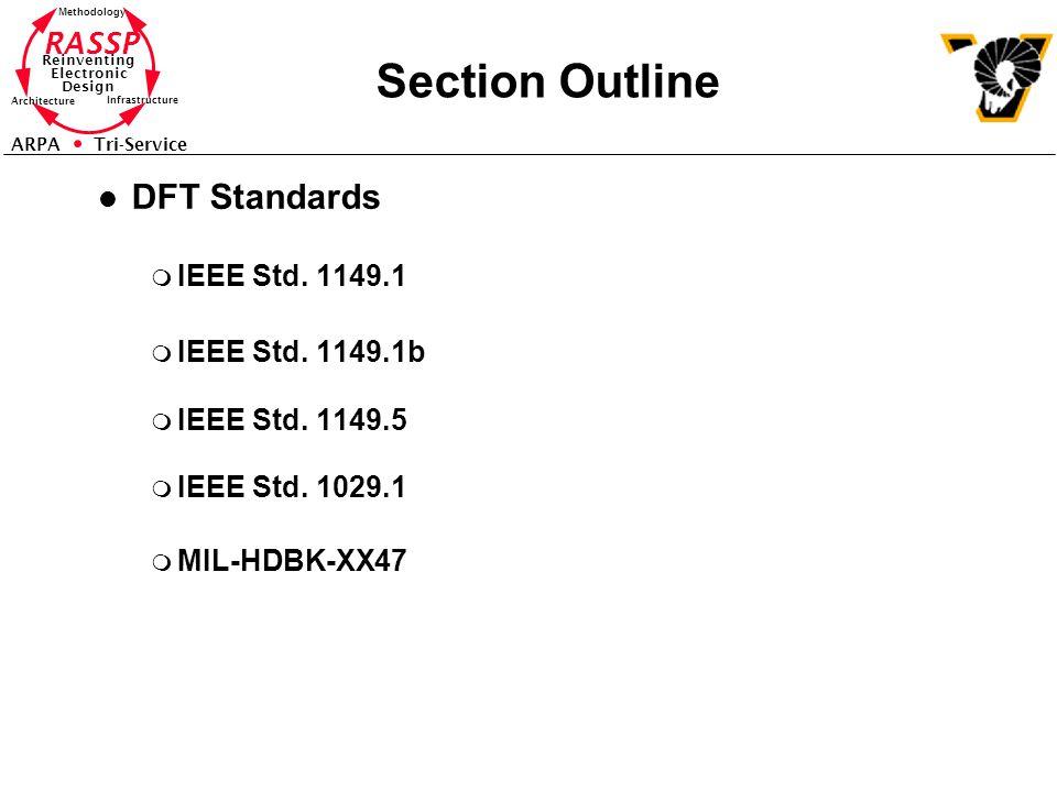 RASSP Reinventing Electronic Design Methodology Architecture Infrastructure ARPA Tri-Service Section Outline l DFT Standards m IEEE Std. 1149.1 m IEEE