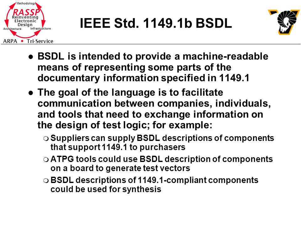RASSP Reinventing Electronic Design Methodology Architecture Infrastructure ARPA Tri-Service IEEE Std. 1149.1b BSDL l BSDL is intended to provide a ma