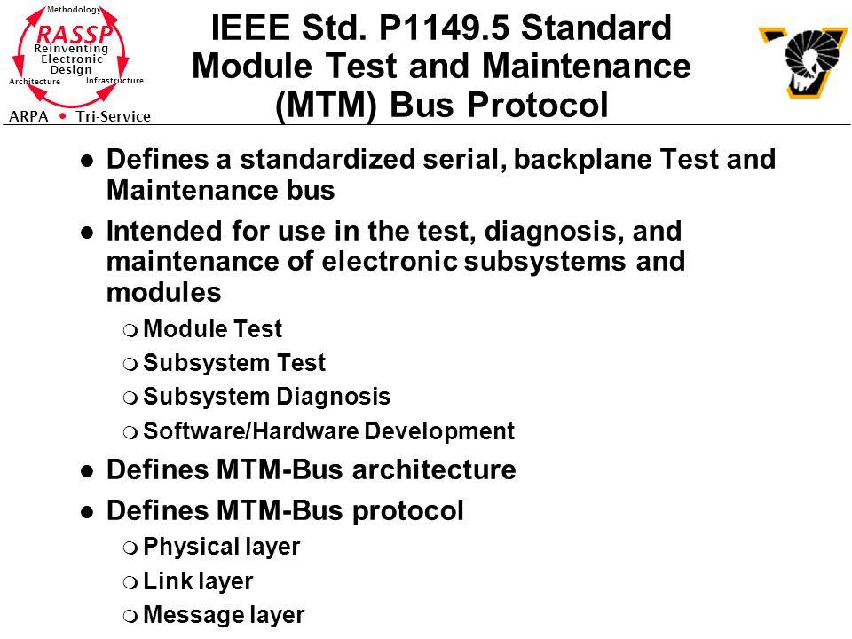 RASSP Reinventing Electronic Design Methodology Architecture Infrastructure ARPA Tri-Service IEEE Std. P1149.5 Standard Module Test and Maintenance (M