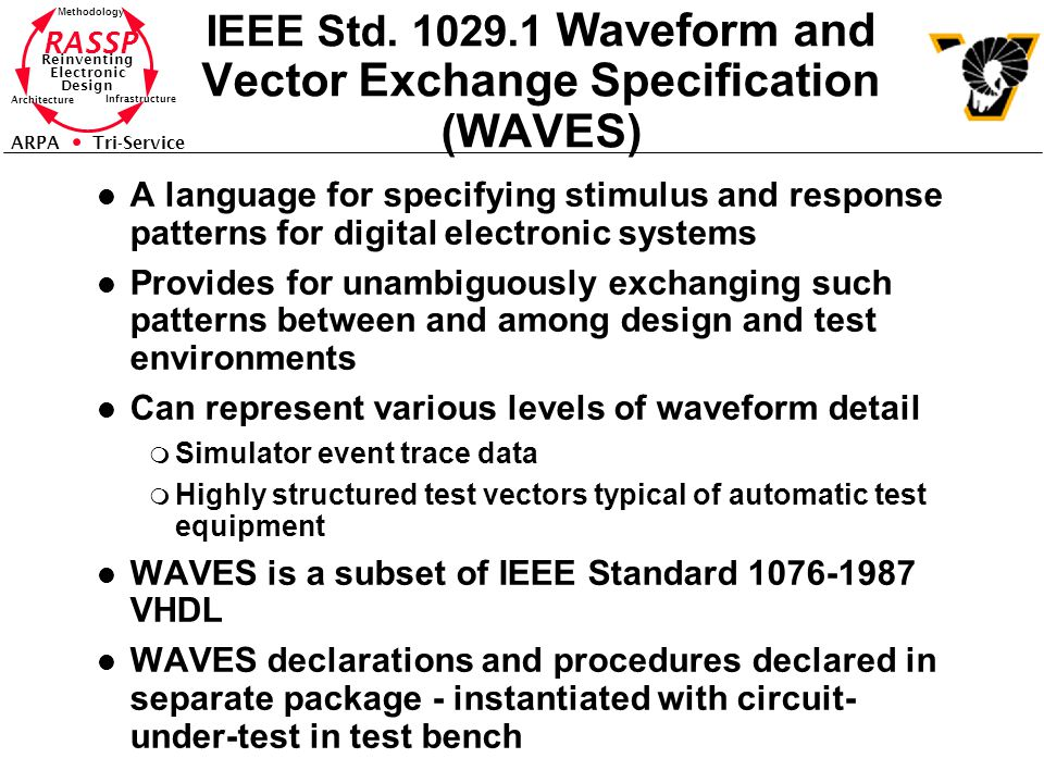 RASSP Reinventing Electronic Design Methodology Architecture Infrastructure ARPA Tri-Service IEEE Std. 1029.1 Waveform and Vector Exchange Specificati